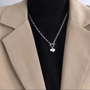 New Sterling Silver 925 Heart Pendant Necklace